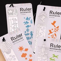 Wholesale Desk Accessories Ruler Bookmarks Hollow Mini Metal Bookmark graduated ruler Cartoon Book marks With Retail Package Styles Free Ship DHL