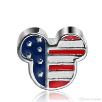 Silver bead charm pattern - Fashion Mickey American Flag Pattern Charm Sterling Silver European Charms Bead Fit Snake Chain Bracelets DIY Jewelry