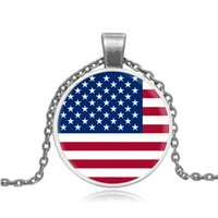 best state flags - Best selling jewelry direct sales United States flag pattern retro time cameo glass necklace