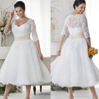 Wholesale Plus Size Wedding Dresses Short Half Sleeves Wedding Gowns White Lace Covered Button Beach Dress Tea Length A Line