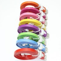 Wholesale High Quality M Micro V8 Noodle Flat Data USB Charging Cords Charger Cable Line for iphone for Android Phone