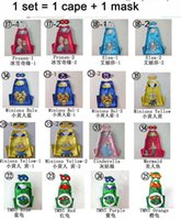 Cheap 16 style kids double Side Despicable Me Mermaid TMNT anna elsa Frozen cape and mask halloween party costumes captain capes 70*70cm