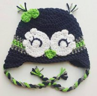baby owl photos - Lovely Seahawks Beanie Earflap Hat Knitted Crochet Baby Boys Girls Kids Sleepy Owl Hat Newborn Cartoon Animal Hat Toddler Infant Photo Props