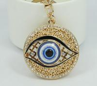 bags purse unique - dropship Unique Hollow Evil Eye Key Chain Ring Crystal Trinkets Metal Keychain for Women Bag Purse Charm Pendant Accessories G H160804001