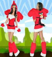 adult bird costume - Newest lovely adult red bird sexy sleeveless Christmas costume cosplay dress for woman M1100