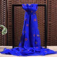 fabric silk georgette - 100 Silk Scarves Breathable Fabric Georgette Embroidered Silk Scarf Scarves Ladies New Designer Gift Box Shawls