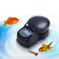 Wholesale 999 Automatic Fish Feeder Auto Aquarium Tank Pond Fish Timer Food Feeder LCD Feeding Not Included the Battery