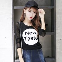 Wholesale WH1680 The new early autumn cultivating wild long sleeved letter T SHIRT black elastic fashion personality letter T shirt