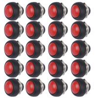 al por mayor rojo interruptor de botón momentáneo-Wholesale-20Pcs Rojo Mini Interruptor 12mm redondo impermeable pulsador momentáneo interruptor de botón