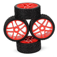 Cheap 4PCS 17mm Red Hub Wheel Rim & Black Tires HSP 1:8 Off-Road RC Car Buggy Tyre For Running On Cement Ground 180091
