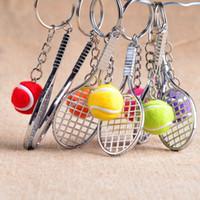 Juguete de la raqueta de tenis Baratos-2016 creativo pelota de tenis y la raqueta 6 color pelota de tenis de aleación de zinc Llaveros estilo de los deportes llavero niños y regalos de cumpleaños del juguete Novel E864L