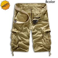 baggy cargo shorts - HOT Outdoor Cotton Straight Multi Pocket Cargo Shorts Men Army Tactical Camouflage Baggy Traning Short Trousers Man color