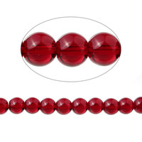 Wholesale Garnet Imitation Loose Beads Round Red Transparent About mm Dia cm quot long Strand Approx Strand new
