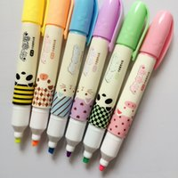 Wholesale Q13 X Kawaii Cute Happy Animal Farm Big Capacity Highlighter Marker Colored Pen Drawing Sationery School Office Supply