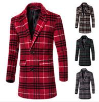 argyle mix - New Hot Good Selling Winter Men s Casual Fashion Plaid Mix Color Woolen Long Coat Clothes