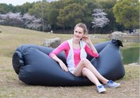 single adult folding chair - Portable folded inflatable hangout sofa chair outdoor camping inflatable furniture air bed lounge chair