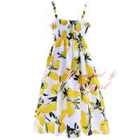 best sundress - Pettigirl Best Sellers Lemon Flowers Print Dresses For Girls Suspender Shoulderless Knee Lenhht Baby Kids Sundress GD90218 F