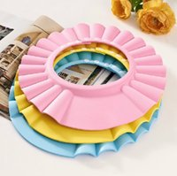 Wholesale Kids Baby Shower Caps Bathing Funny Wash Hair Shield Hat cap Protects Your Baby or Toddler s Eyes Ear Adjustable Size for Head