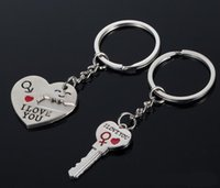 Wholesale New Type Sterling Silver Gift Couple Heart Keychain Fashion Keyring Key Fob Creative Key Chain Fei
