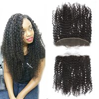 Wholesale 8A From Ear To Ear Brazilian Lace Frontal Closure x4 Curly Hair Lace Frontals Bleached Knots Full Lace Frontal With Baby Hair