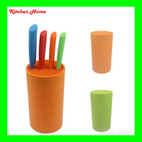 Wholesale Round Shape Multifunctional PP knife holder knife stand for Knives Eco Friendly Kitchen Tools Holder Green and Orange color
