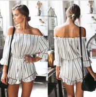 beach overalls - Sexy off shoulder striped women jumpsuit romper Summer style beach short playsuit Casual macacao overalls for women