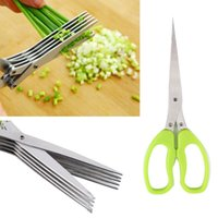 Wholesale Multi functional Stainless Steel Kitchen Knives Layers Scissors Sushi Shredded Scallion Cut Herb Spices Scissor Cutter Cooking Tools