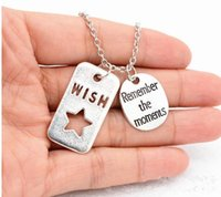 american moment - New arrival antique silver wish with remember the moments charm pendant Necklace chian necklace