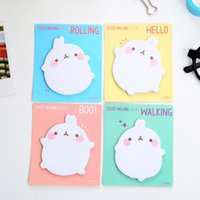 Wholesale Cute Molang Rabbit Self Adhesive Memo Pad Sticky Notes Sticker Label Escolar Papelaria School Office Supply