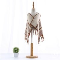 Wholesale 2016 Autumn New Girl Coat Tassels Colorful Fashion Shawl Cardigan With Cap Children Clothes