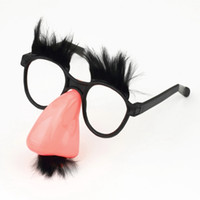 Wholesale 10Pcs Mustache Fake Nose Eyebrow Clown Fancy Dress up Costume Props Fun Party Favor Glasses Worldwide FreeShipping