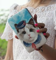 big cat photos - New Korean Fashion Women Girls Bags Cute Lovely Big Cat Face Wallets Personalized Graffiti Mobile Phones Handbags Long Wallets and Purses