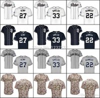 baseball shield - 2015 New new baseball jerseys san diego padres jersey Matt Kemp James Shields Ian Kennedy mens sport jerseys emboridery