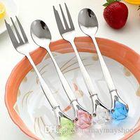 Wholesale fashion Creative rhinestone Stone Drilling Stainless Steel Tableware Spoon Fork dinnerware set per set