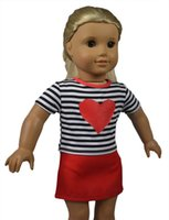 Wholesale 18 quot Black Striped Red Heart Pattern Shirt and Red Skirt American Doll Clothes for American Girl Dolls and Alike Dolls