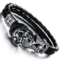Wholesale Fashion Punk Jewelry Stainless Steel Skull Bracelets Black Genuine Leather Zirconia Men Bangles Party Gifts LPH846