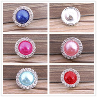 Wholesale New DIY Noosa Button Alloy Crystal Pearl Snap buttons jewelry Accessories press studs rivca button for real Bracelets Rings Pendants