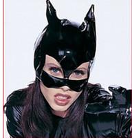 Wholesale BLACK PVC CAT WOMAN LEATHER LOOK HEAD MASK COSTUME