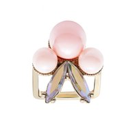 Wholesale New Hot Best Quality Fashion Alloy K Gold Plated Fine pearl Jewelry Zircon Ring Infinity Crystal Rings For Women Best Gift