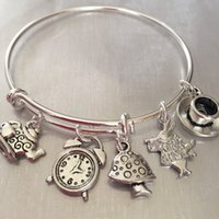 alice charms - 12pcs Alice in wonderland Bracelet with rabbit clock tea kettle and cup and mushroom charms