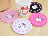 leather coaster - Full Love Heart Hello Kitty Cartoon Leather Food Dish Coffee Cup Round Shape Mat Coaster Size CM