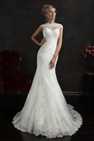 Cheap Amelia Sposa mermaid wedding dress cheap high collar capped sleeves applique lace tulle sweep wedding gowns illusion button back vestidos