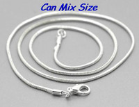 Wholesale wedding can mix size inch Silver plated Jewelry Link Snake Necklace Chains With Lobster Clasps For Pendant DIY