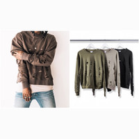 Wholesale kanye west oversized Destroyed Sweater hoodie kpop clothes mens clothing hiphop Fashion Casual Cotton Sweatshirts color