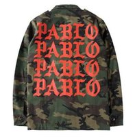 Wholesale Red Gold Pablo Letters Print Army Green Military Camouflage Jacket Men Kanye West Fashion Streetwear Windbreak Skateboard Coats