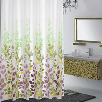 Wholesale Eco friendly PEVA Bathroom Curtain Waterproof Moldproof Shower Curtains Pastoral Style Bath Curtain with Curtain Rings JI0092
