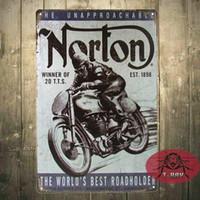 Wholesale Vintage home decor Norton motorcycle plaque art wall decor iron Paintings Bar shop Garage painting CM C