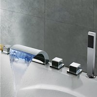 bathtub faucet knobs - LED Light Waterfall Spout Bathtub Filler Faucet Knobs Mixer Tap with Handheld Spray Chrome