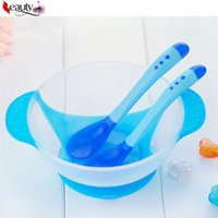 Wholesale 2016 New set Infant Baby feeding Bowl With Sucker and Temperature Sensing Spoon Suction Cup Bowl Slip resistant Tableware Set
