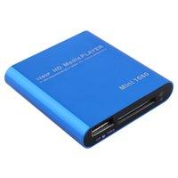 Wholesale Hot Blue Full HD p HD D Media Player Mini HD Media Box USB HDD Flash HDMI Play System with Remote Control US Plug